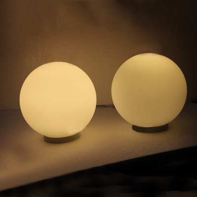 Delightful Modern White Glass Ball Table Lamp ...