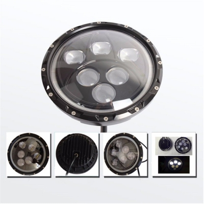 7 Inch 60W Round LED Projector Headlight for Jeep Wrangler Hi-Lo Beam with Halo Ring Cree LED Pack of 2