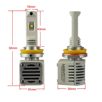 NIGHTEYE N1 Car LED Headlight Bulbs H11 80W 12000LM Luxeon-C/MZ 6000K LED Pack of 2