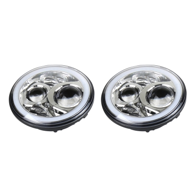 Image of 7 Inch 60W Chrome LED Headlight for Jeep Wrangler Hi/Lo Beam with RGB Angle Eye Cree LED 6500K Pack of 2