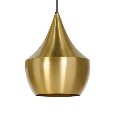 Conical Metal Single Pendant Light in Silver/Gold/Black/White for Dining Room Bedroom Cafe