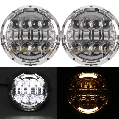 7 Inch 80W Round LED Headlight for Jeep Wrangler with H4 DRL OSRAM LED 6500K Pack of 2