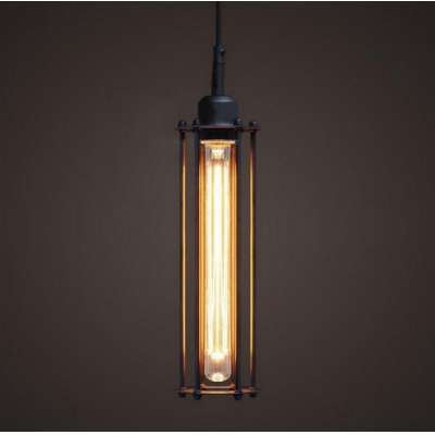 Tube Wire Cage Single Pendant Light Retro Industrial 16