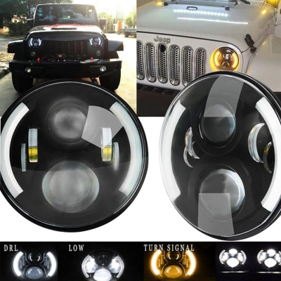 7 Inch 60w Round Led Projector Headlight For Jeep Wrangler