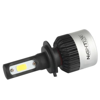 NIGHTEYE S2 Car LED Headlight Bulbs H7 72W 9000LM 6500K Bridgelux COB LED Pack of 2