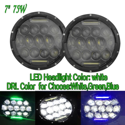 7 Inch 75W LED Headlight for Jeep Wrangler JK LJ CJ Hi/Lo Beam with DRL Function Cree LED Pack of 2