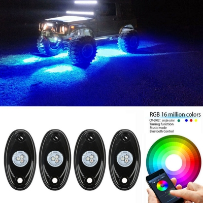 Rgb 4 Pods Led Rock Light Kits For Jeep Off Road Car