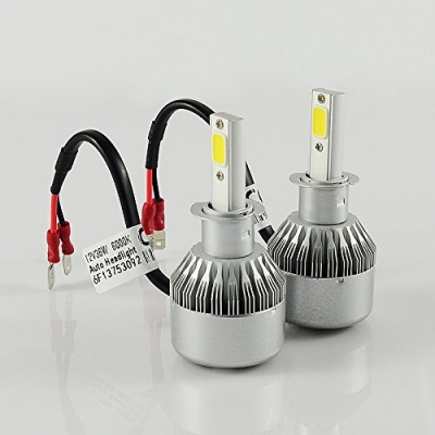 Car LED Headlight Bulbs H3 72W 7600LM 6000K COB LED Pack of 2
