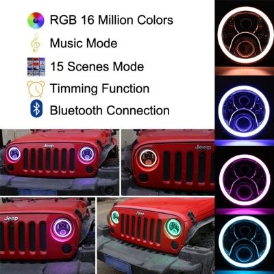 7 Inch 60W Chrome LED Headlight for Jeep Wrangler Hi/Lo Beam with RGB Angle Eye Cree LED 6500K Pack of 2