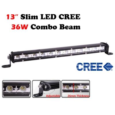13 Inch Slim LED Work Light Bar 36W 6000K Cree Flood Beam For Off Road Truck ATV SUV 4WD Car