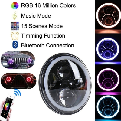 7 Inch 60W LED Headlight for Jeep Wrangler Hi/Lo Beam with RGB Angle Eye Cree LED 6500K Cellphone Bluetooth Change Color Pack of 2