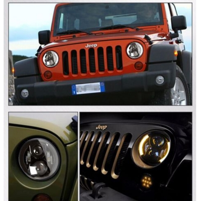 7 Inch 60W Round LED Projector Headlight for Jeep Wrangler JK TJ Amber Turn Signal Angel Eye DRL Cree LED Pack of 2