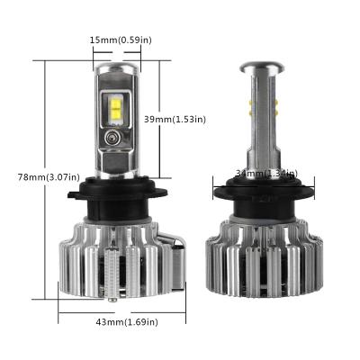 NIGHTEYE T1 Car LED Headlight Bulbs H7 80W 9000LM 6000K CSP LED Pack of 2