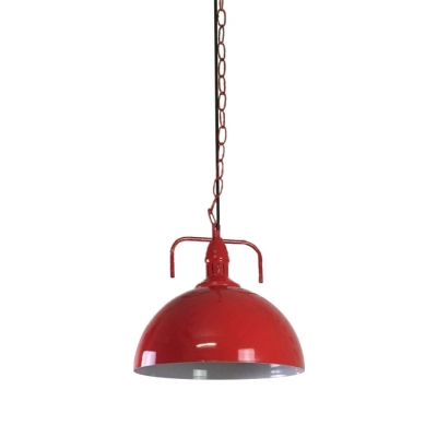 7 wide bowl shape red finished mini barn led pendant