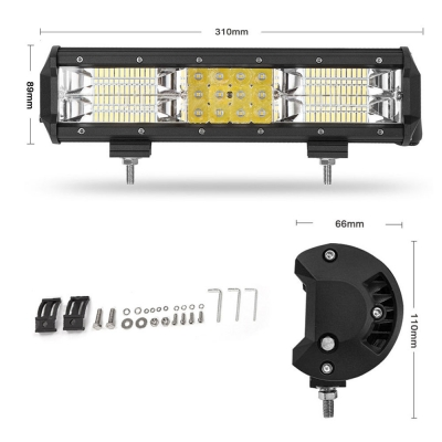 7D+ 12 Inch Combo Beam LED Work Light Bar 180W 18000LM Flood and Spot Three Rows OSRAM LED Car Light for Off Road Truck ATV SUV 4WD Car