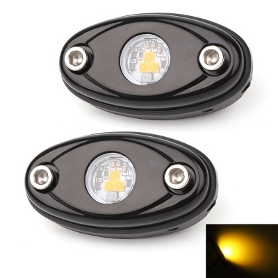 LED Rock Light for JEEP ATV SUV Off Road Trucks Boat Waterproof Rock Proof,  Yellow Light (Pack of 2)