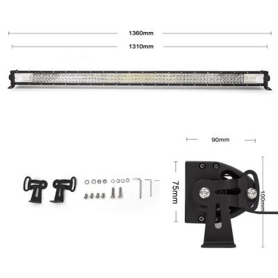 7D+ 52 Inch Combo Beam LED Work Light Bar 675W Tri-Row 30 Degree Spot & 150 Degree Flood OSRAM LED Car Light for Off Road Truck ATV SUV 4WD Car - 2017 NEW ARRIVAL