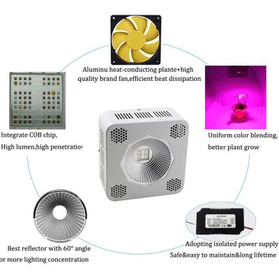 192W COB LED Grow Light for Full Spectrum 64 LEDs (White)