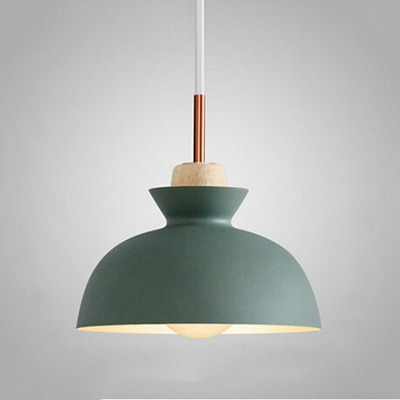 Bowl Shade Pendant Light Minimal Wooden 10''