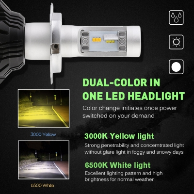 A359 Car LED Headlight Bulbs H4 50W 8000LM 3000K Yellow& 6500K White LUXEON ZES LED, Pack of 2