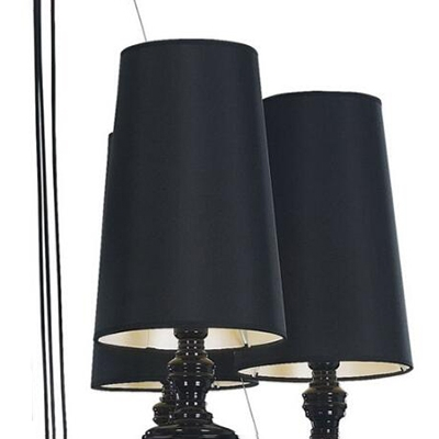 Contemporary Chandelier in Black/Gold Finish with Fabric Shade, 6 Lights