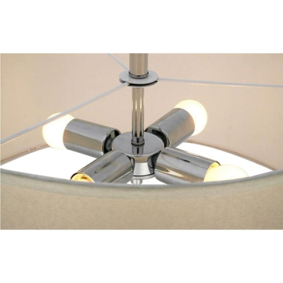 White Semi-Flush Mount with Fabric Shade Crystal Accent
