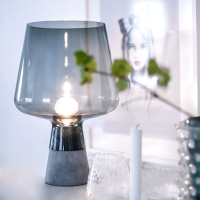 Anthracite Concrete Glass Table Lamp