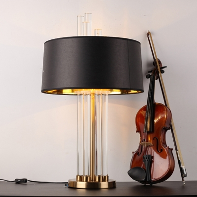 ... Modern Glass Rod Table Lamp With Black Drum Shade Gold/Antique Copper  Lamp Base ...