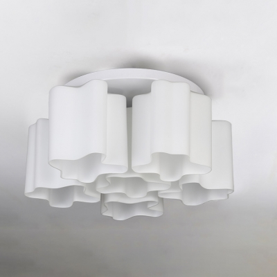 Sextuple Floral Frosted Blown White Glass Semi-Flush Mount Light