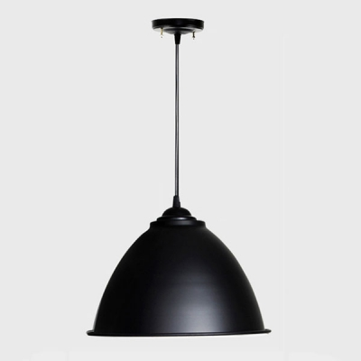 Industrial Dome Single Pendant Light Fixture With Black Shade