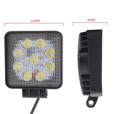4 Inch Rectangle LED Work Light 27W Cree LED Flood Beam For Off Road 4x4 Jeep Truck ATV SUV Pickup Boat, 2 Pcs