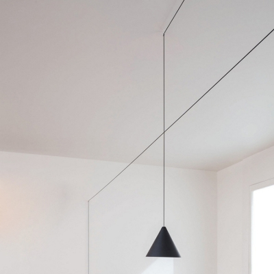 Conical Black Hanging Light With Long  Plug-In Cord, 7