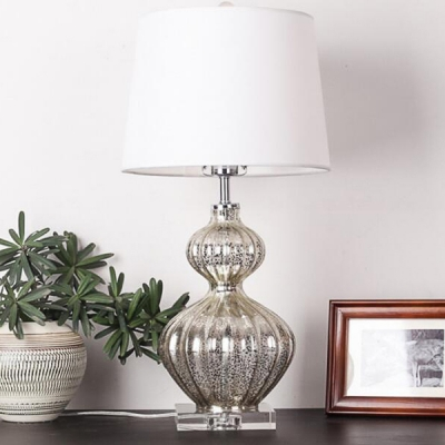 Silver Bottle Gourd Table Lamp with White Fabric Shade