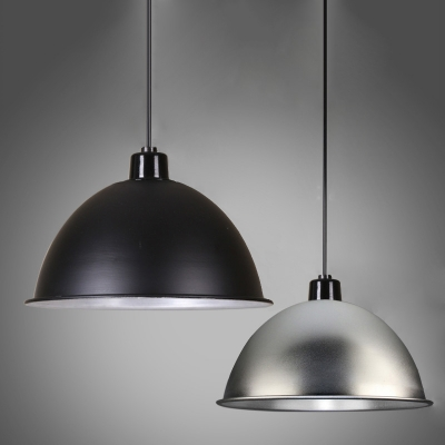 Industrial Hanging Pendant Light Dome Metal Shade Black Silver One Light Beautifulhalo Com