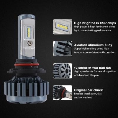 Nighteye A373 Car LED  Headlight Bulbs 9005 60W 8000LM 6000K CSP LED, Pack of 2