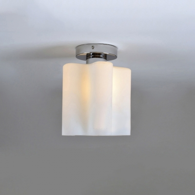 Floral Frosted Blown White Glass Semi-Flush Mount Light