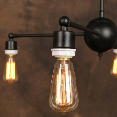 Industrial Retro Exposed Edison Bulb Style Chandelier, Downlighting with 4 Lights