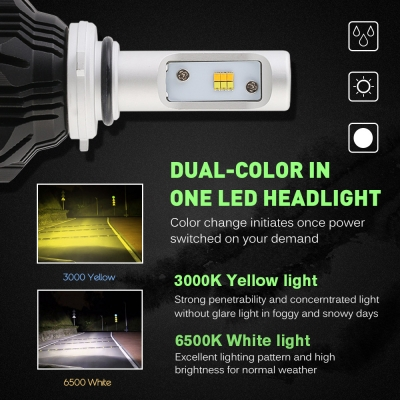 A359 Car LED Headlight Bulbs 9006 50W 8000LM 3000K Yellow& 6500K White LUXEON ZES LED, Pack of 2