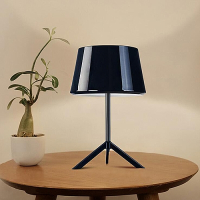Tripod Iron Table Lamp with Black/White/Red Shade, 12'' Width