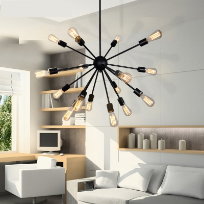 Contemporary chandelier with edison bulbs in wrought iron style aloadofball Image collections