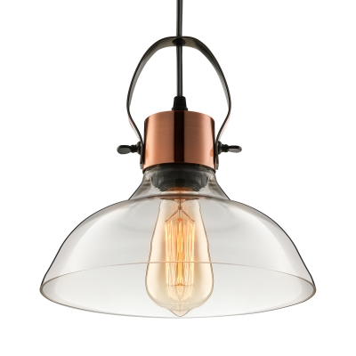 Industrial Style Barn Drop Light Clear Glass Single Head Pendant Lighting in Copper for Kitchen