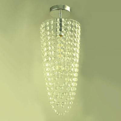 Bold Design Gracefully Glittering Long Crystal Semi Flush Chandelier Ceiling Light