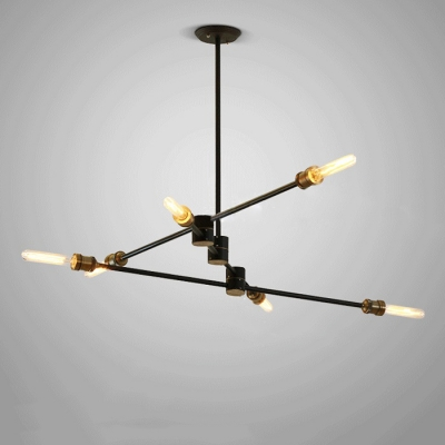 ... Light Industrial Semi Flush Mount Ceiling Light In Black Finish With 6  Edison Bulbs, Light