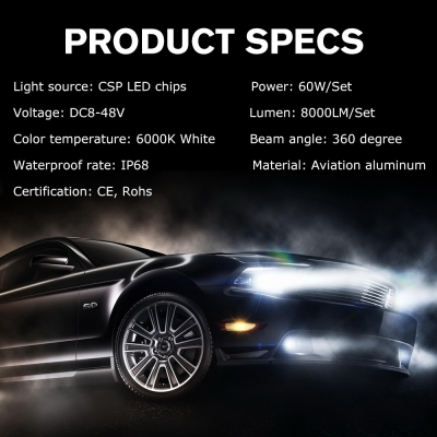 Nighteye A372 Car LED  Headlight Bulbs H7 60W 8000LM 6000K CSP LED, Pack of 2