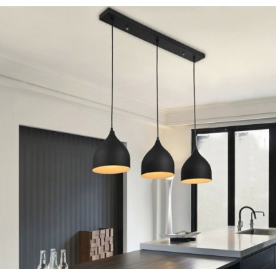 Modern Linear Multi-light Pendant with Black/White Teardrop Shade, 3 Lights