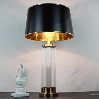 Crystal Table Lamp Columns Black Shade