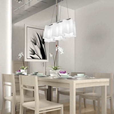 Octuple Floral Frosted Blown White Glass Island Light