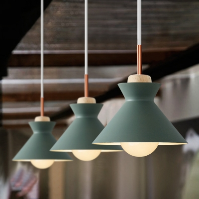 Wooden Pendant Light Conical Shade 10''