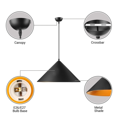Contemporary Aluminum Pendant Light with Cone Shade in Black/White Finish
