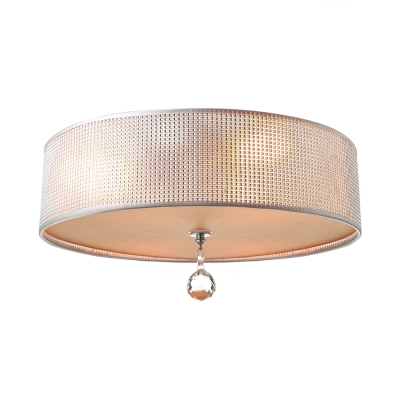 Modern Crystal Flush Mount Ceiling Light with Fabric Drum Shade 3